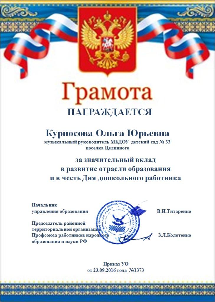 Грамота РУО 2016
