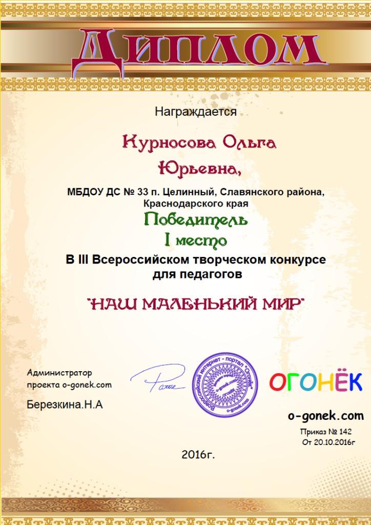 Диплом Огонек-1 место